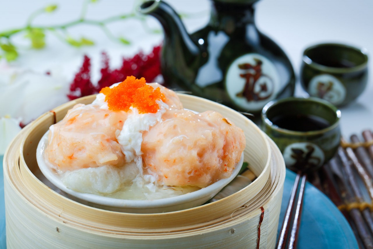 百花蒸釀魚肚  Steamed Fish Maw with Shrimp Paste