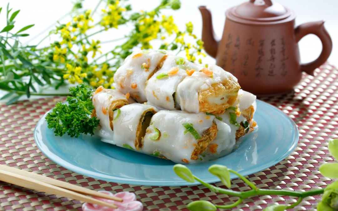 魚茸腐皮腸  Steamed Rice Flour Rolls Wrap with Minced Fish